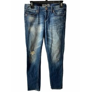 Express Distressed Blue Skinny Jeans